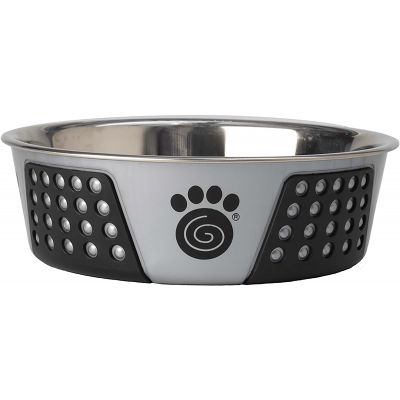 Petrageous Designs Stainless Steel Bowl  Holds 6.5 Cups Gray/Black - 13099
