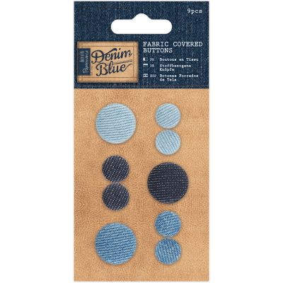 Papermania Denim Blue Fabric Covered Buttons 9/Pkg  - PM354603