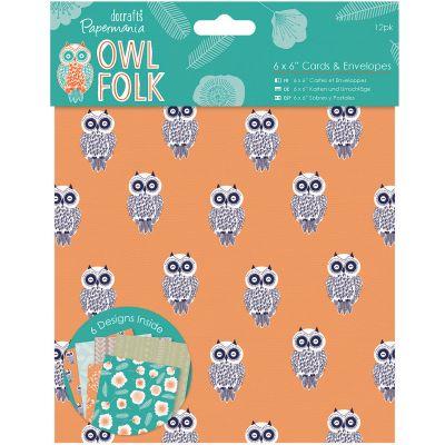Papermania Owl Folk Cards W/Envelopes 6