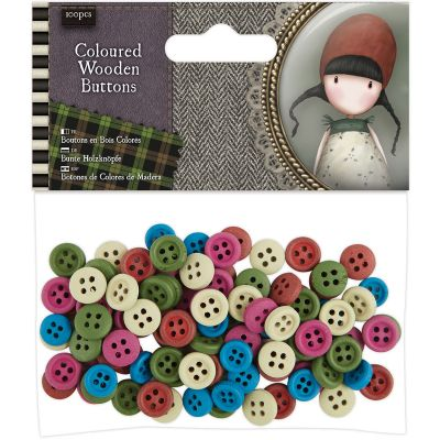 Santoro'S Gorjuss Tweed Wooden Buttons 100/Pkg Assorted Colors - GO354304