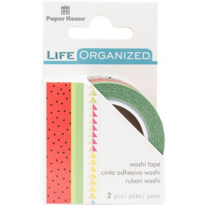 Paper House Life Organized Washi Tape 2/Pkg Summer Fun W/Gold Foil - STWAX-1E