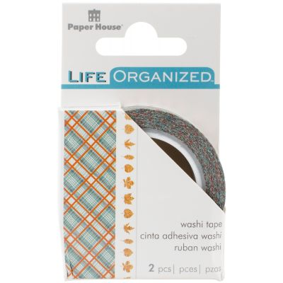 Paper House Life Organized Washi Tape 2/Pkg Autumn Woods W/Gold Foil - STWA-5E