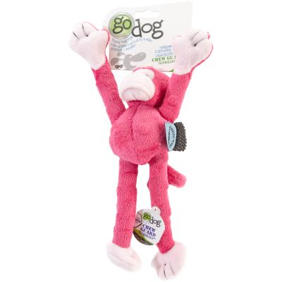 Godog Crazy Tugs Monkey With Chew Guard Small Pink - 770733