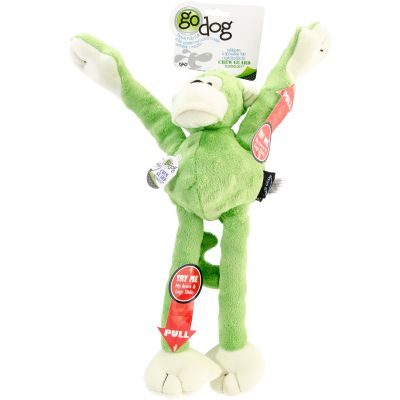 Godog Crazy Tugs Monkey With Chew Guard Large Lime - 770731