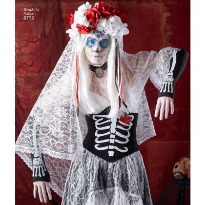 Simplicity Elaine Heigl Day Of The Dead Misses Costume-14-16-18-20-22