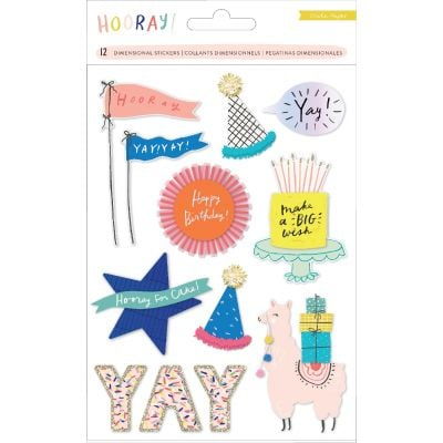 Hooray Dimensional Stickers 12/Pkg-W/Glitter & Pom Pom Accents