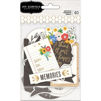 Jen Hadfield Along The Way Ephemera Cardstock Die-Cuts 40/Pk-Phrase W/Gold Foil Accents