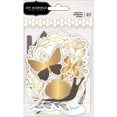 Jen Hadfield Along The Way Ephemera Cardstock Die-Cuts 40/Pk-Icons W/Gold Foil Accents