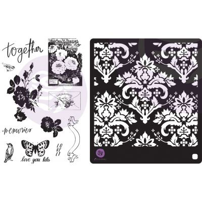 Lavender Frost Cling Rubber Stamps & Stencil-