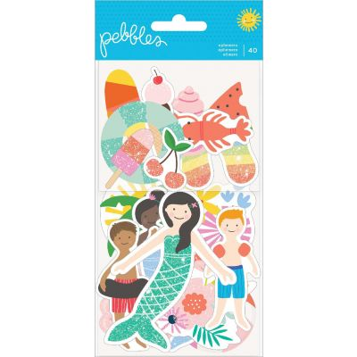 Oh Summertime Ephemera Cardstock Die-Cuts 40/Pkg-Icons W/White Glitter Accents