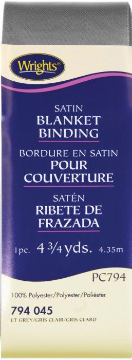 "Wrights Single Fold Satin Blanket Binding 2/""x4.75yd-stone Blue"