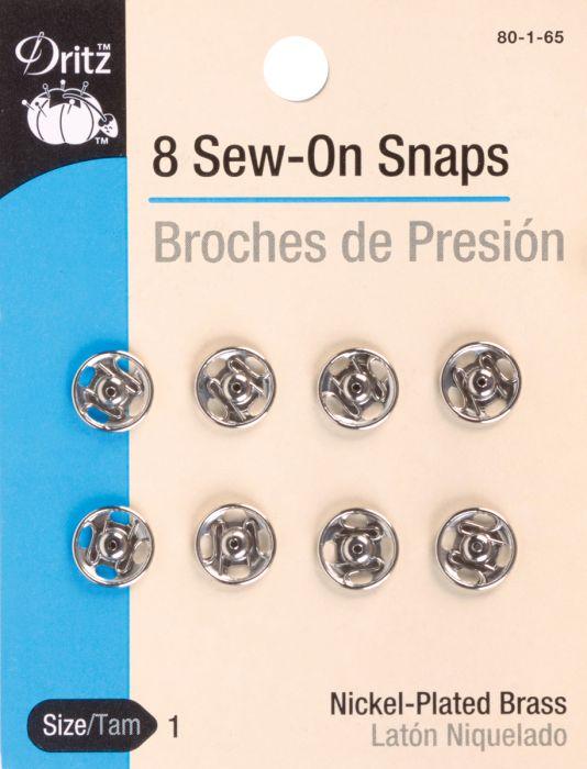 Dritz Sew On Snaps 8/Pkg Nickel Plated Brass Size 1 - 80-1-65