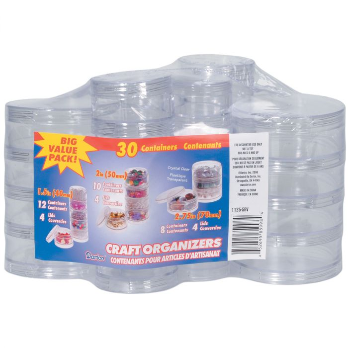 Craft Organizers Mini Stackable Plastic Containers Set-Clear Round