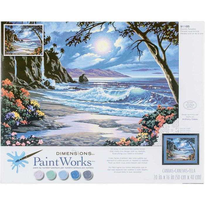"""Paint Works Paint By Number Kit 14/""""X11/""""-Cafe By The Sea"""