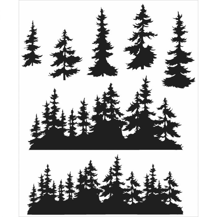 """Stampers Anonymous CMS-244 Tim Holtz Cling Stamps 7/""""X8.5/""""-Tree Line"""